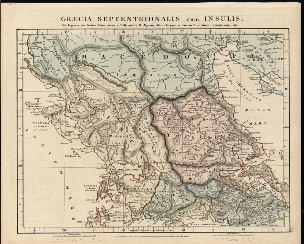 North & Central Greece 1828 Arrowsmith fine old vintage antique map