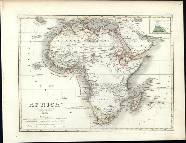 Africa Arabia Sahara Mts. of Moon shown w/ topography chart c. 1850 Meyer map