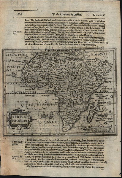 Africa continent ships sea monster 1607 Hondius 1626 Purchas scarce map Betz #53