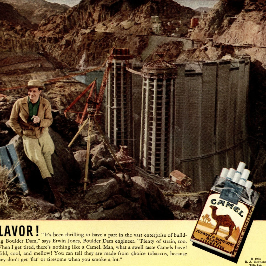 Camel 1935 old cig. advert R.J. Reynolds Outdoor people mild energy flavor wow!
