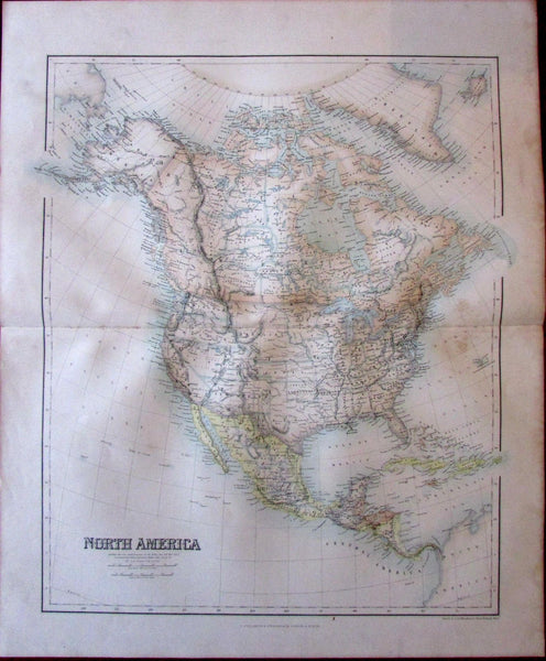 North America Territorial West Fullarton c.1855 large folio sheet map