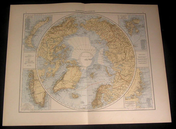 North Pole 1899 large detailed old German color map