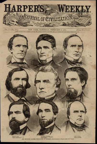 Seceding Alabama Delegation Congress Portraits 1861 great old print for display