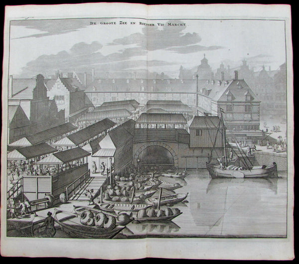 Amsterdam Fish vis market binnenstad Netherlands 1693 Commelin antique city view