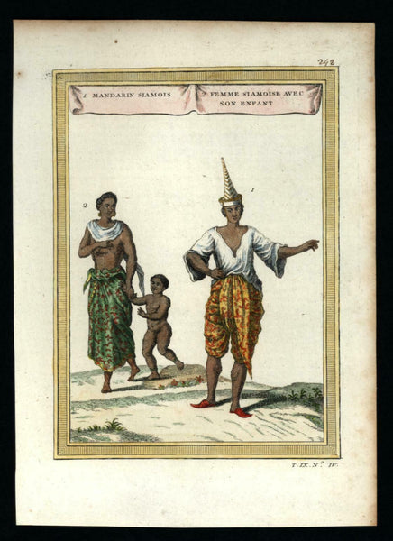 Siam Thailand natives couple w/ child 1751 ethnic costume lovely hand color