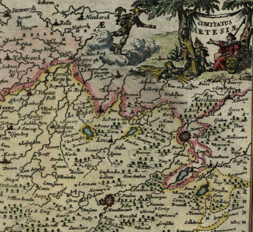 Low Countries Belgium France Artois 1725 Harrewijn fine old vintage antique map