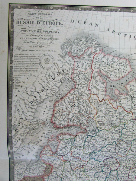 Russia Kingdom of Poland 1826-37 Brue fine large folio old map