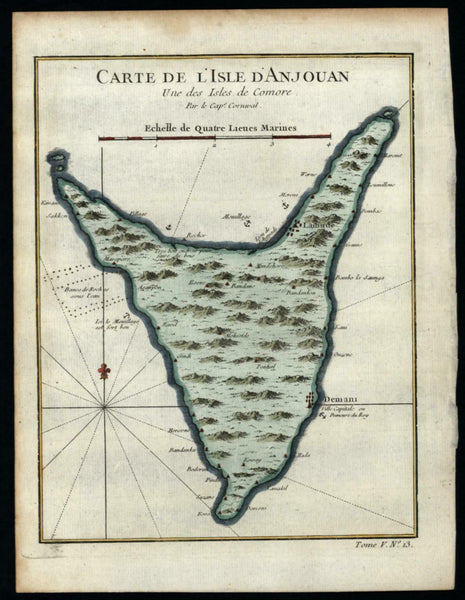 East coast Africa Madagascar Comoros island d'Anjouan 1748 Cornwall Bellin map