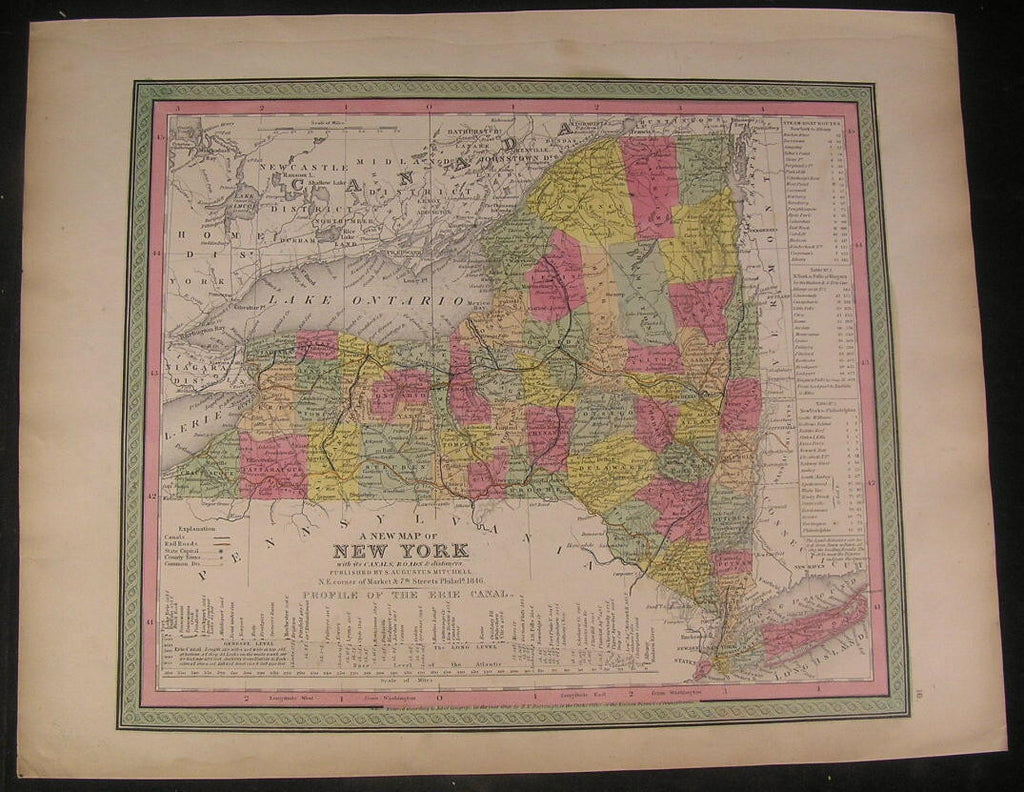 New York by Mitchell 1846 fine folio old hand color vintage antique map