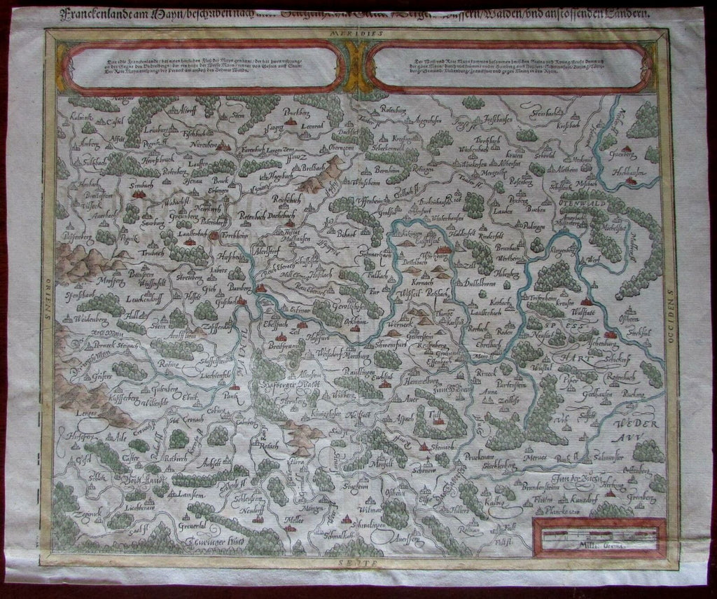 Germany Maine river course Bamberg 1628 Munster antique regional map