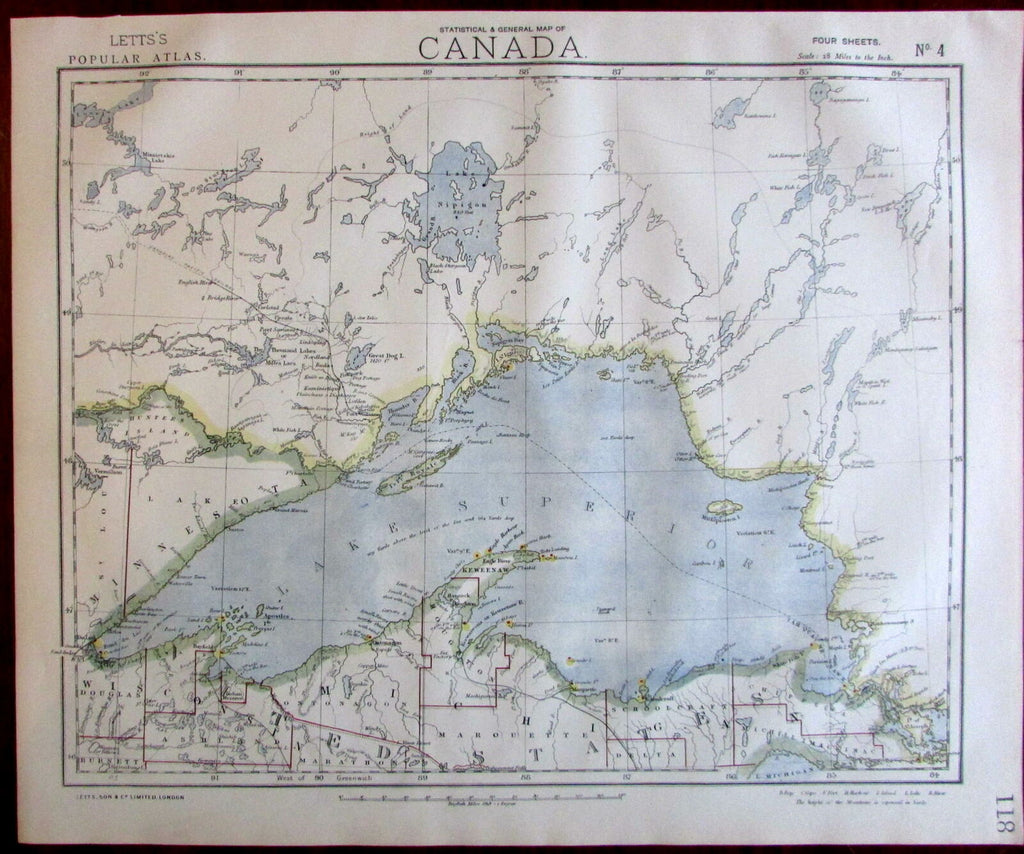 Canada Lake Superior Michigan Minnesota coast 1883 Lett's version of SDUK map