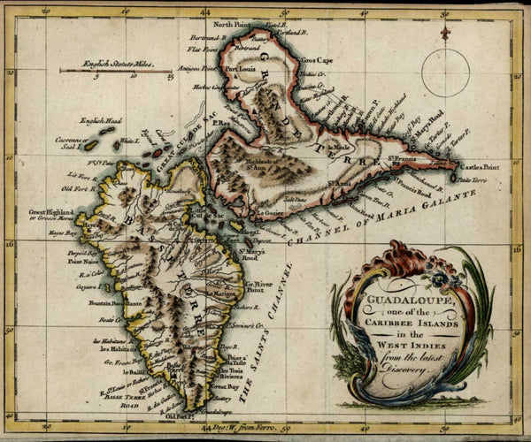 French Guadeloupe Caribee Islands Caribbean 1759 Bowen scarce periodical map