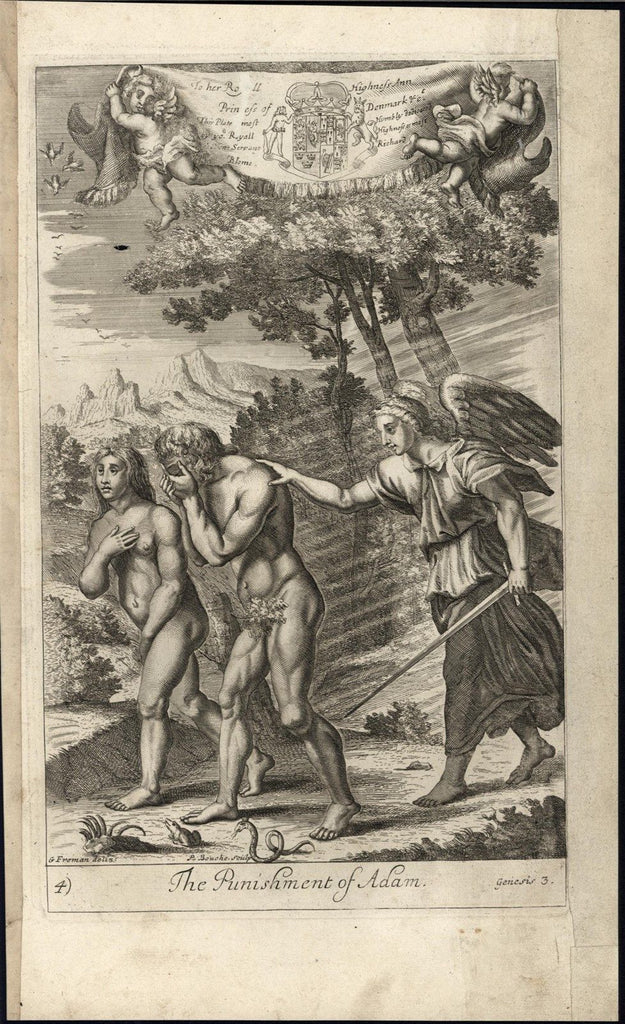 Adam & Eve Cast Out Garden of Eden Punishment 1690 old original engraved print