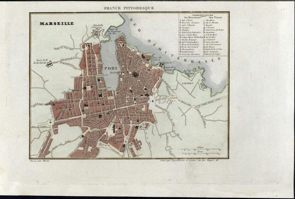 Marseille France 1835 fine old vintage antique city plan map