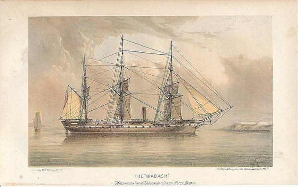 The Wabash scarce 1868 original antique color lithograph sailing ship view