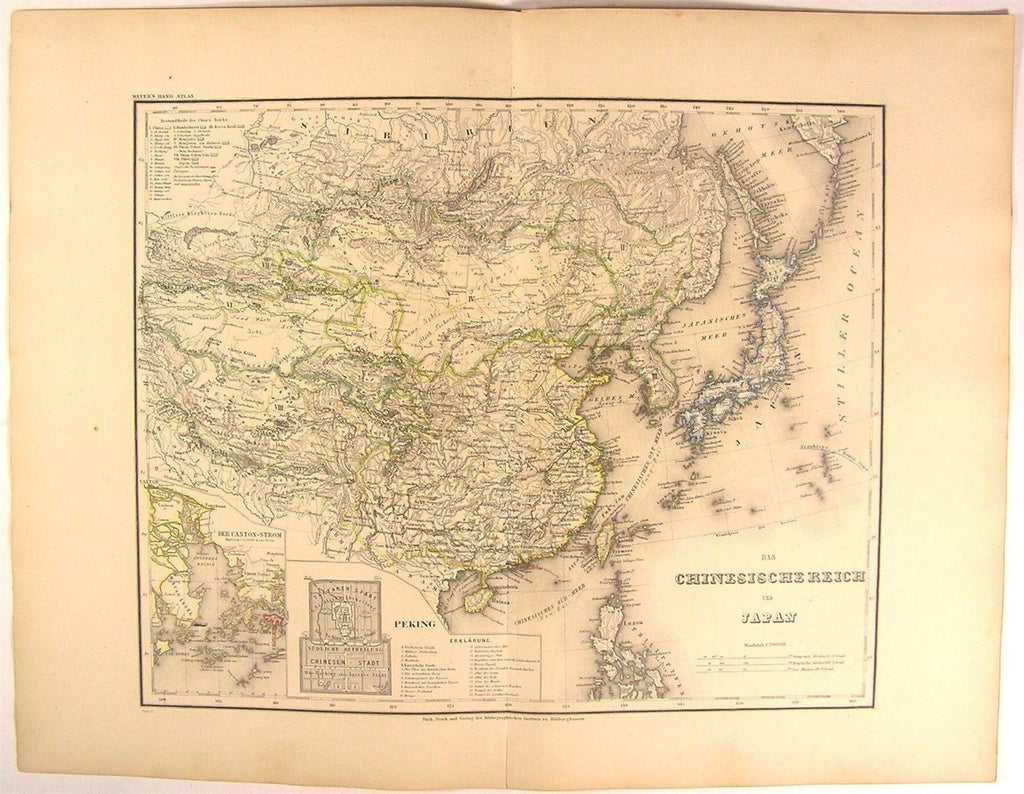 Chinese Empire w/ Peking city plan Canton Japan Asia 1873 antique Meyer map