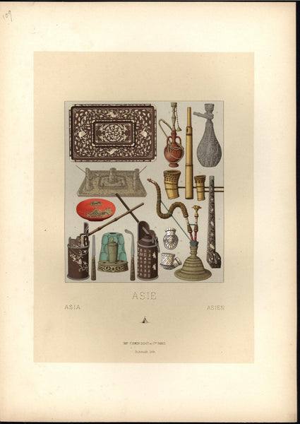Asian Smoking Devices Tobacco Pipe Incense Holders c.1888 antique colorful print