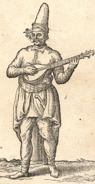 Traveling Musician c.1570 Dutch de Nicolay early Turkish ethnic print