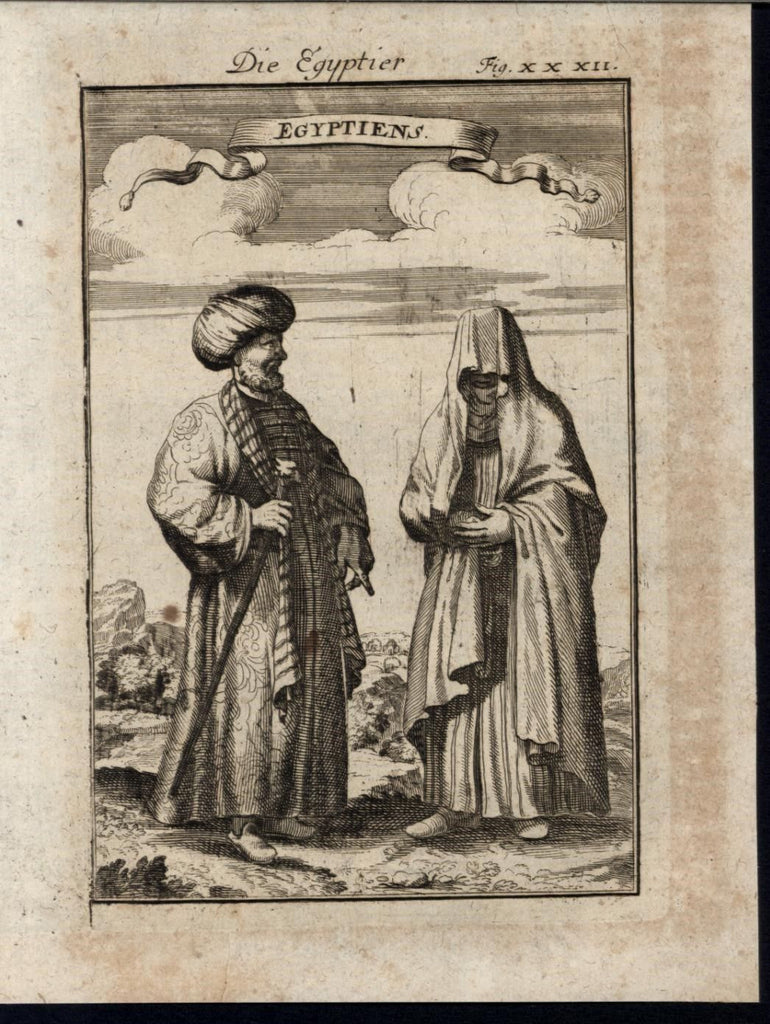 Egyptians Veiled Woman Niqab Muslims Ethnic 1719 antique Mallet World print