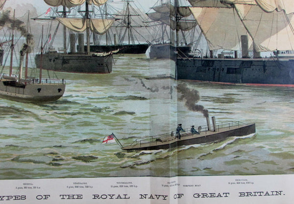 British Royal Navy battle ships England panorama 1886 old antique color print
