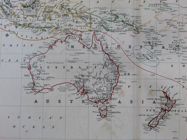 Australia New Zealand Pacific Sandwich Islands Tasmania 1868 old Johnston map