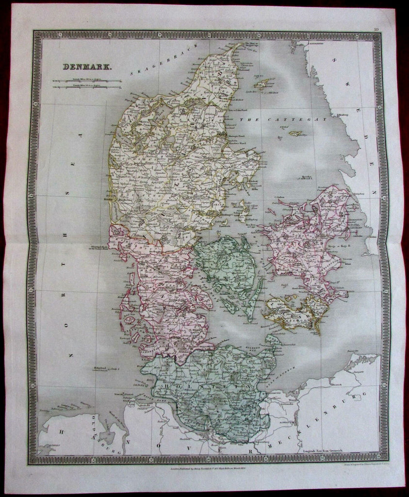 Denmark by itself 1831 by Teesdale Dower lovely antique map