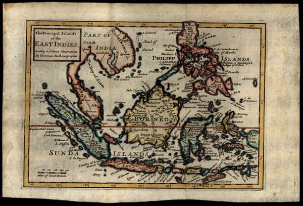 East Indies Southeast Asia Sumatra Philippines Borneo Java Siam 1712 Moll map