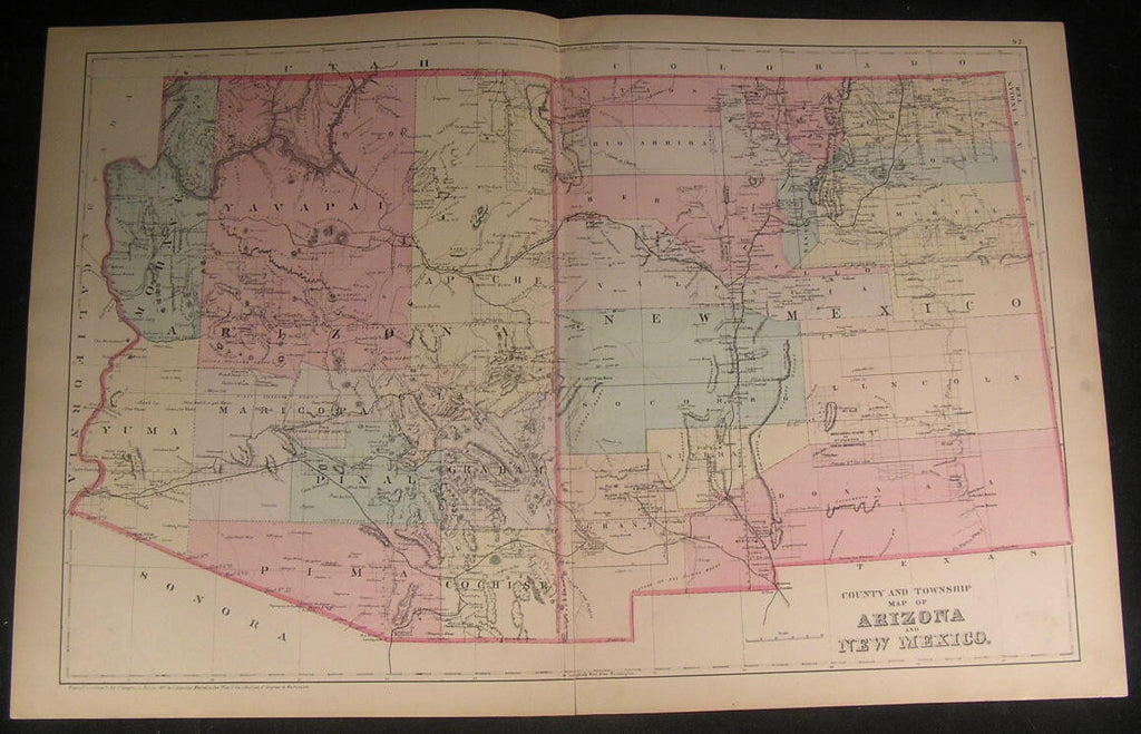 Arizona New Mexico Grand Canyon 1887 antique lithograph hand color map
