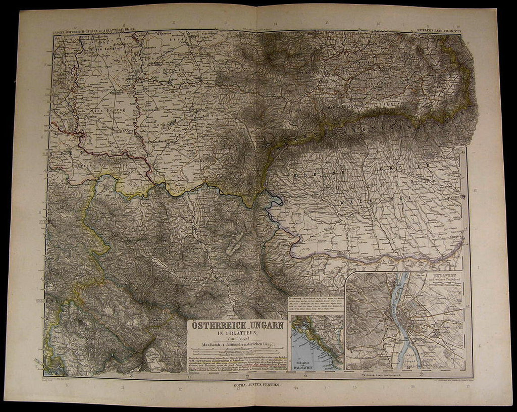 Austria Hungary Budapest Walachia Montenegro nice 1894 fine old detailed map