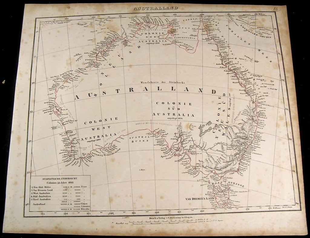 Australia New South Wales showing Colonies 1849 Flemming old antique map