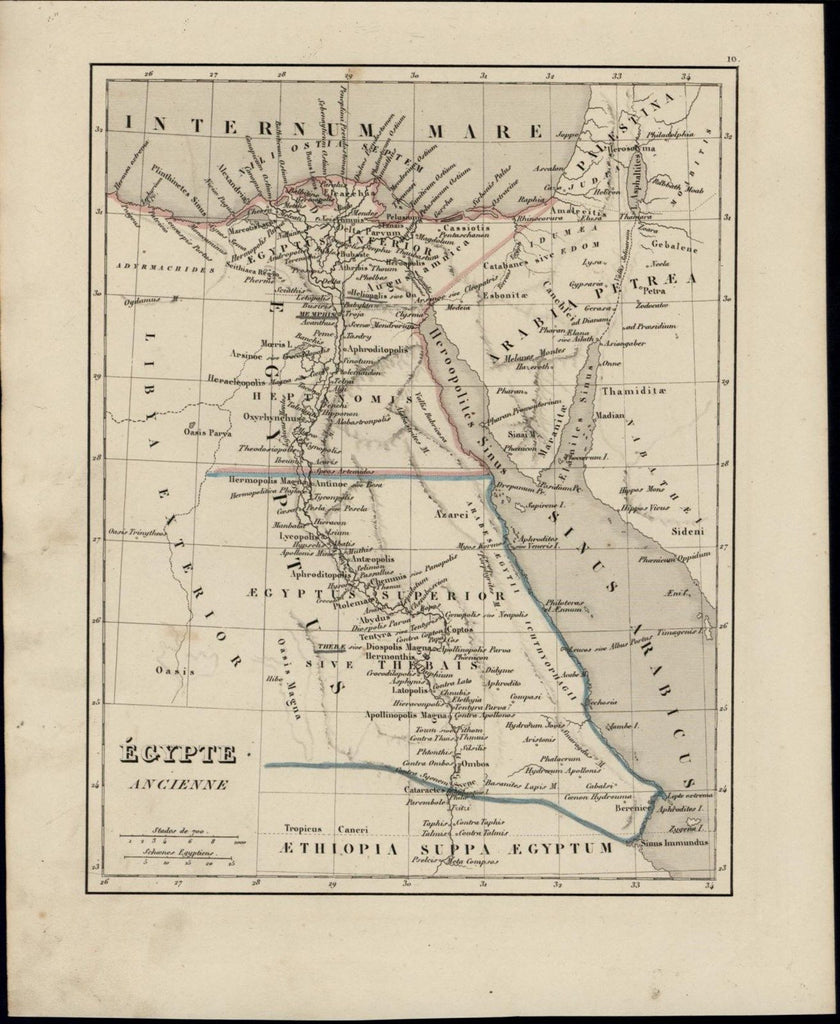 Ancient Egypt Nile River Arabia Red Sea Sinai Peninsula nice 1838 scarce old map