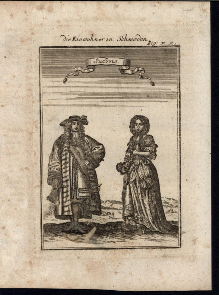 Swedes Luxurious Fur Clothing Wealth Ethnic 1719 antique Mallet World print