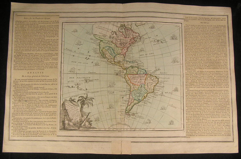 Americas Amazon Louisiana California 1766 beautiful old vintage antique rare map
