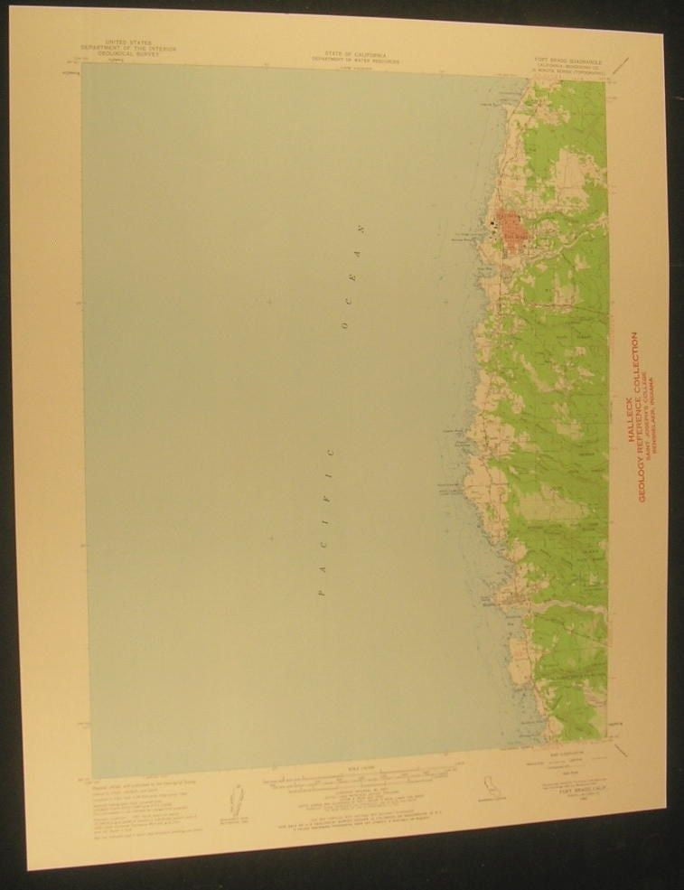 Fort Bragg California Jackson State Forest 1963 antique color lithograph map