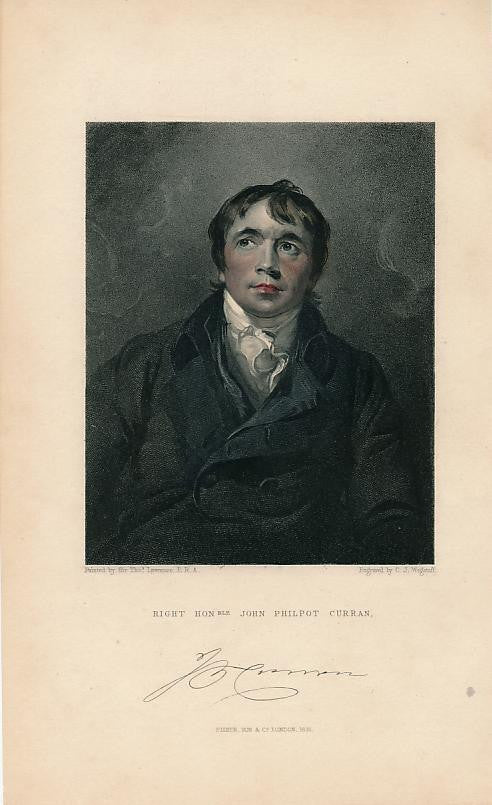 John Philpot Curran 1831 nice old hand colored portrait print
