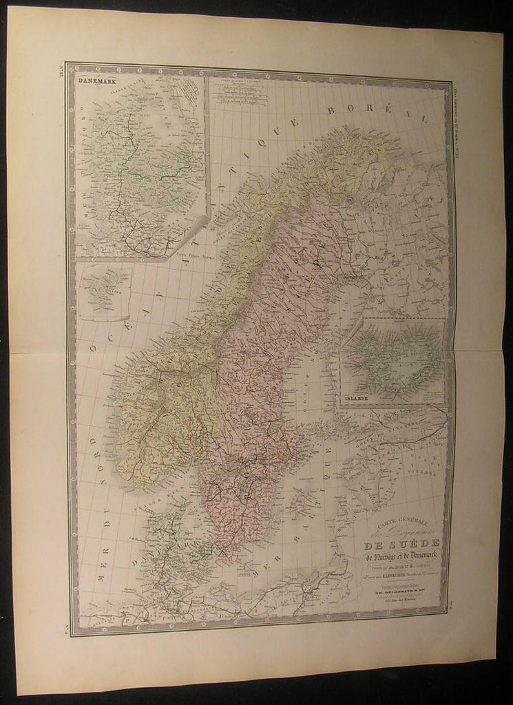 Scandinavia Sweden Iceland Norway 1875 fine large old vintage hand color map