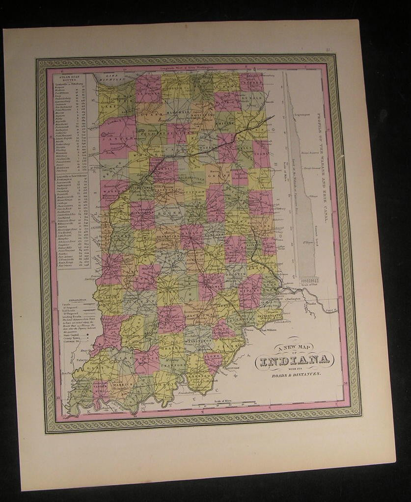 Indiana state map 1851 nice old vintage antique Cowperthwait map