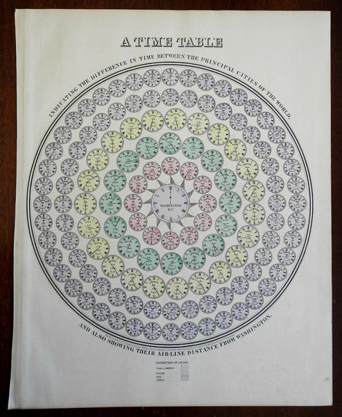 World Time Tables Clocks World Cities 1864 attractive diagram by Mitchell print