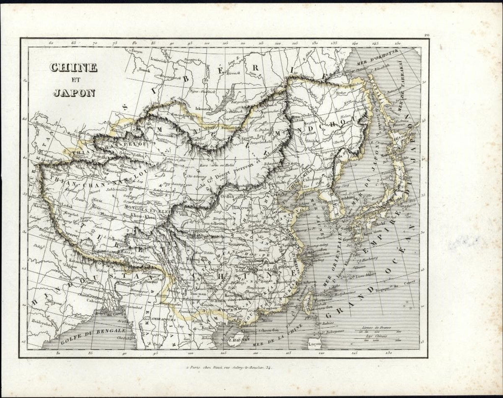 China & Japan Asia Korea India c.1845 old engraved hand color French rare map