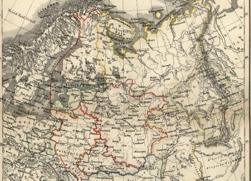 Russia in Europe St. Petersburg Baltic States Polen c.1850 scarce antique map
