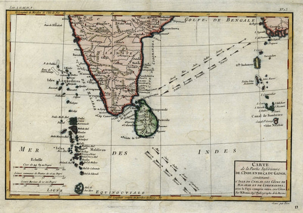 Southern India Ceylon Sri Lanka Maldives 1780 Bonne engraved map