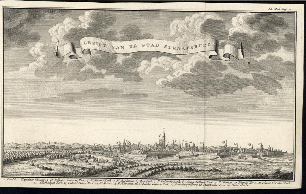 Strasbourg France Lutheran Church Citadel c. 1740 antique panoramic view print