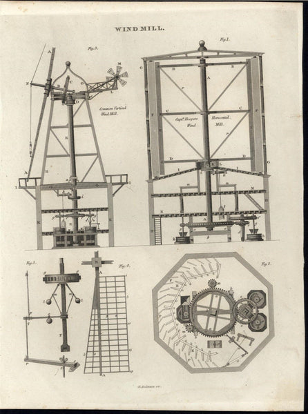 Vertical & Horizontal Windmills Intricate Machine c.1820 antique engraved print