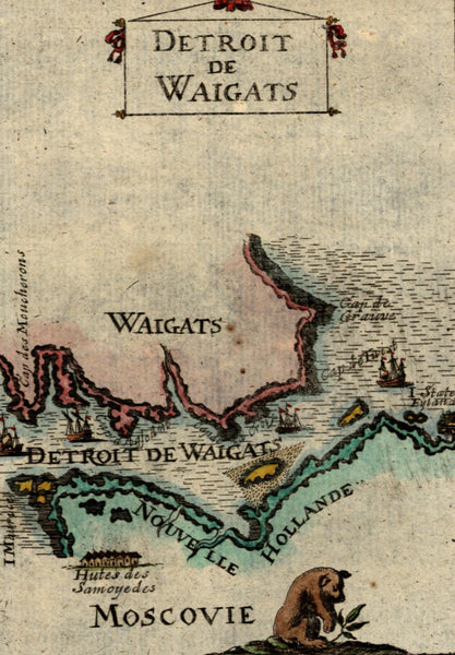Arctic North Russia Detroit de Waigats Moscovy 1719 Mallet antique color map