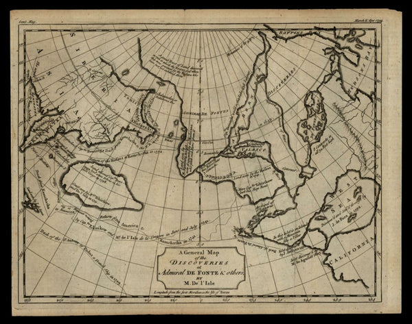 Admiral De Fonte Discoveries Sea of West 1754 de L'Isle western U.S. fantasy map