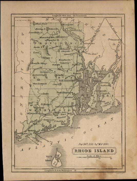 Rhode Island charming small c.1855-60 scarce Boynton old hand color state map