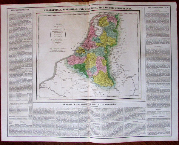 Netherlands Kingdom Holland Nederland c.1820 M. Carey large historical text map