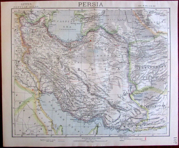 Persia Caspian Persian Gulf Afghanistan 1883 Lett's detailed large uncommon map