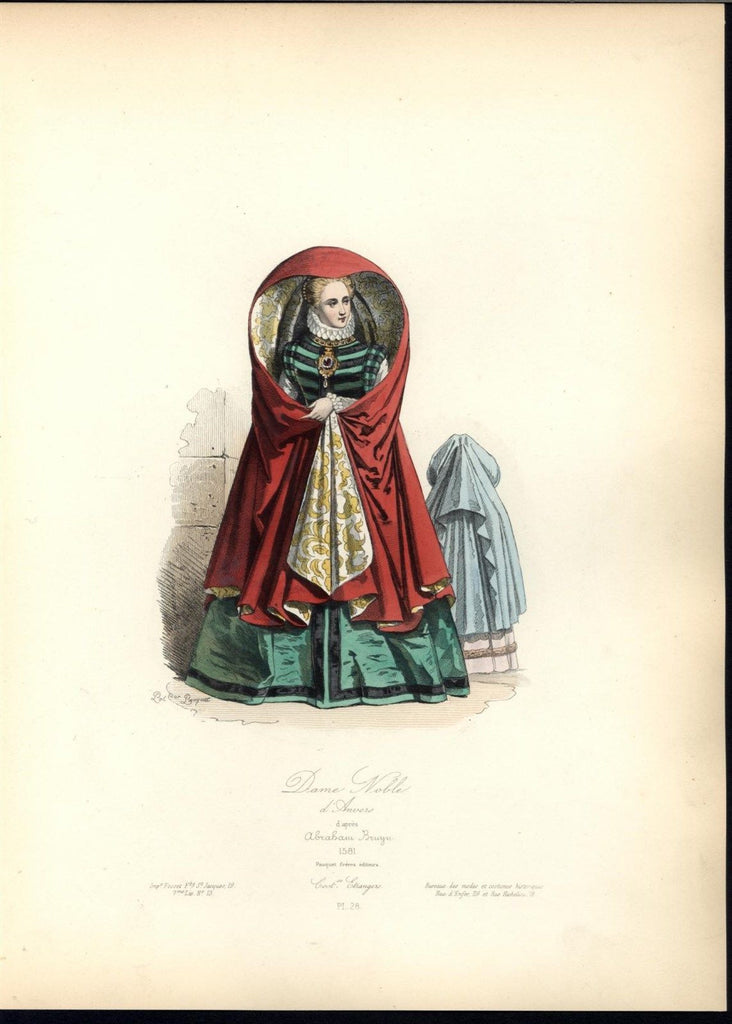 Beauty Belgian Noble Crimson Cloak Ruff c.1870 antique hand color costume print
