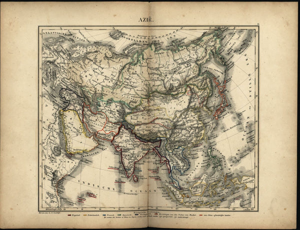 Asia Iran Arabia Tibet China India Japan Indonesia c.1865 Petri rare antique map